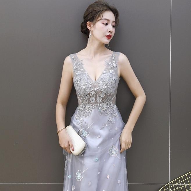 ビーズの刺繍ドレス · ロングドレスYN2093