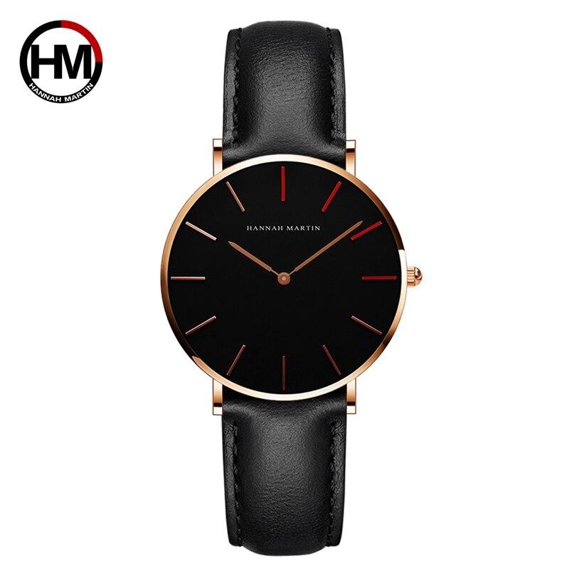 日本クォーツムーブメント レディース腕時計 高級黒革の女性 36mm1230-HR36-FH
