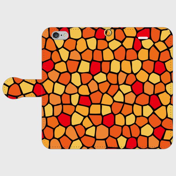 モザイクタイル(赤・黄・橙)/ iPhoneスマホケース(手帳型ケース)
