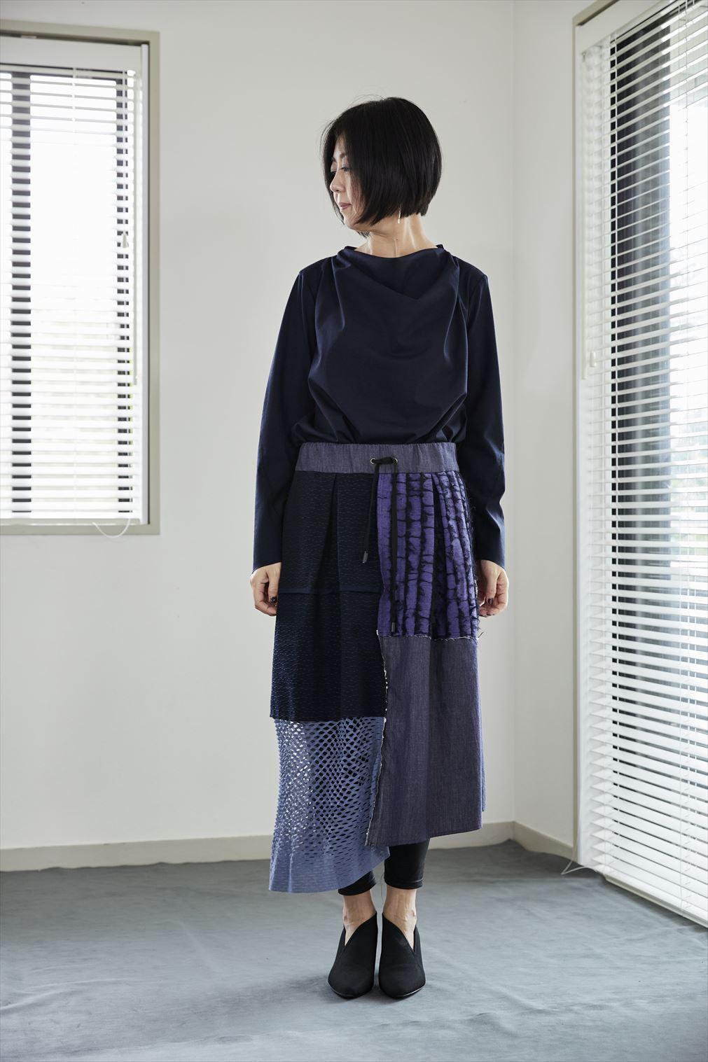 Patchwork skirt ネイビー NAVY  着るアート 532-06-21[MADE IN JAPAN][税/送料込]