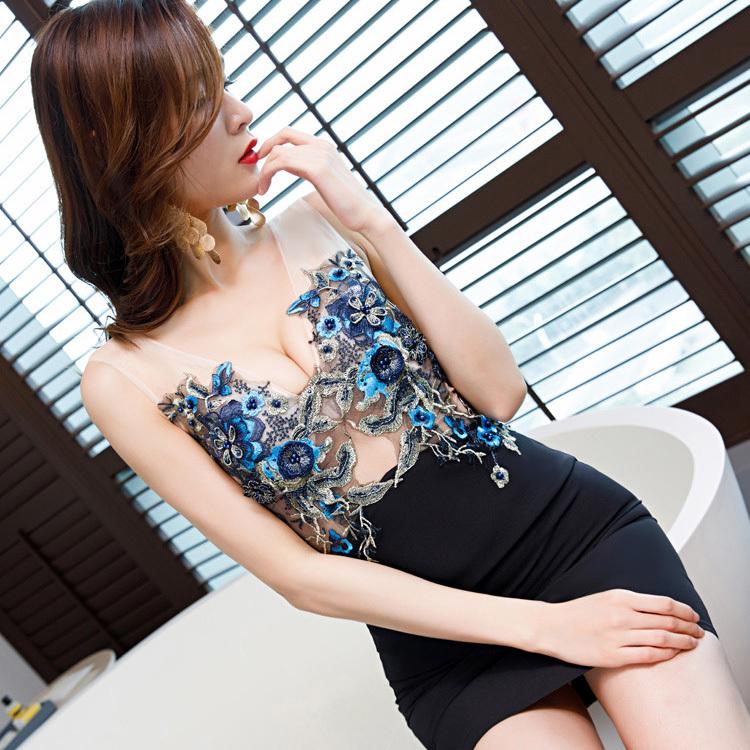 超人気 new color 入荷 刺繡 レース セクシー 肌見え 谷間魅力 ミニドレス キャバドレス YN2001-2