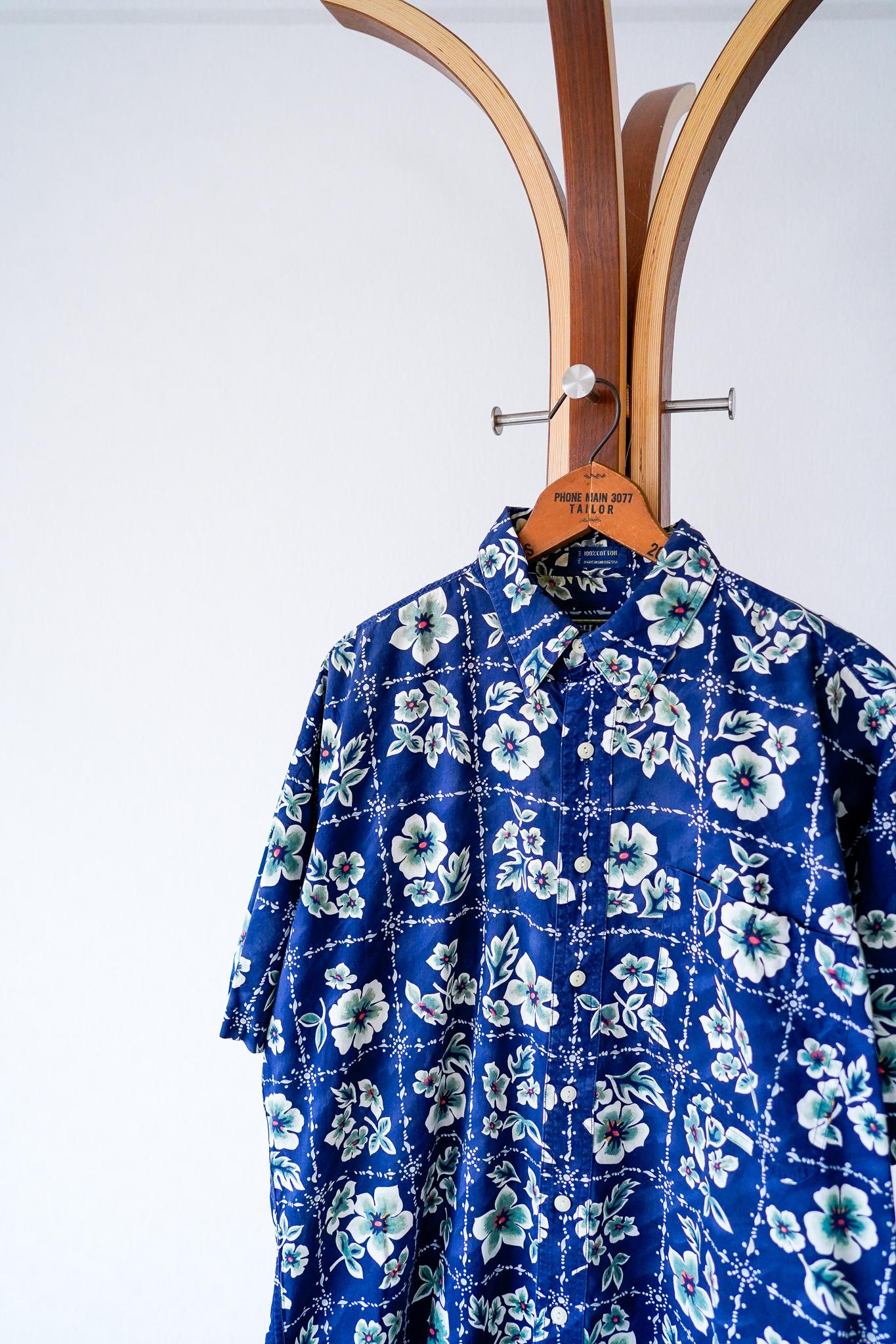 "【1980s】""CHAPS Ralph Lauren"" Flower Pattern S/S Shirts / v635"