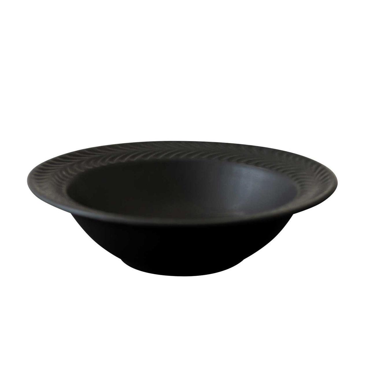 波佐見焼 翔芳窯 ローズマリー リムボウル 皿 17.5cm マットブラック