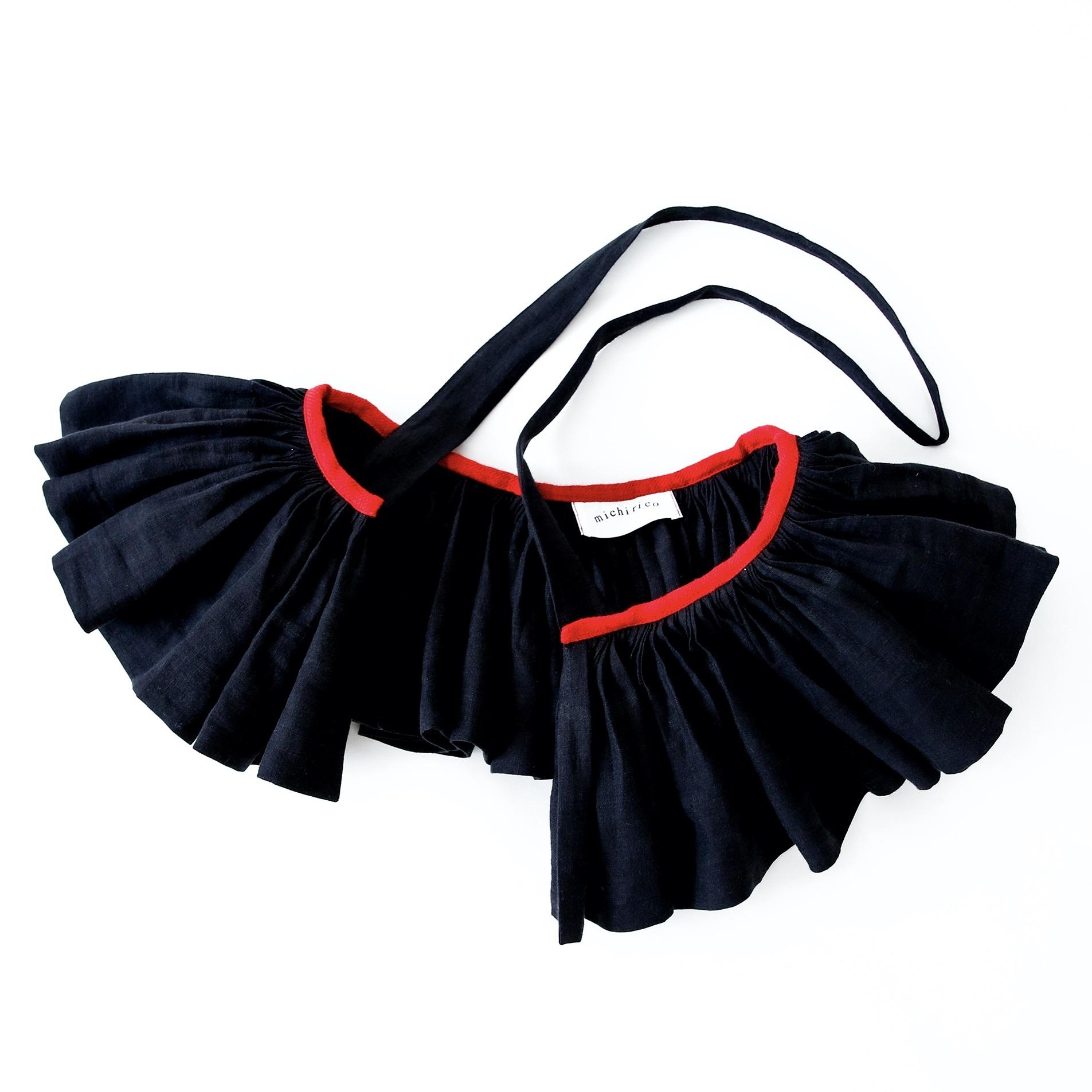 《michirico 2021AW》Linen vest / black