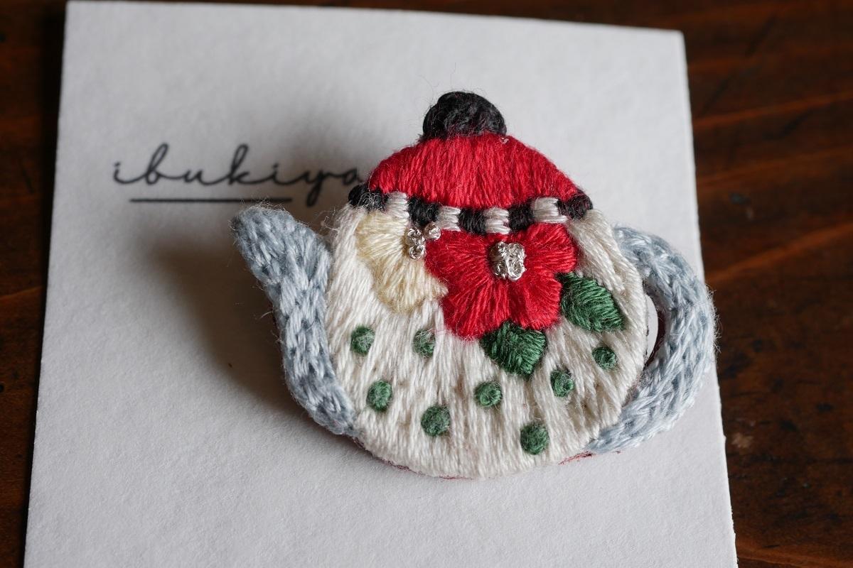 IBUKIya 刺繍ブローチ「ティーポット」ib-06