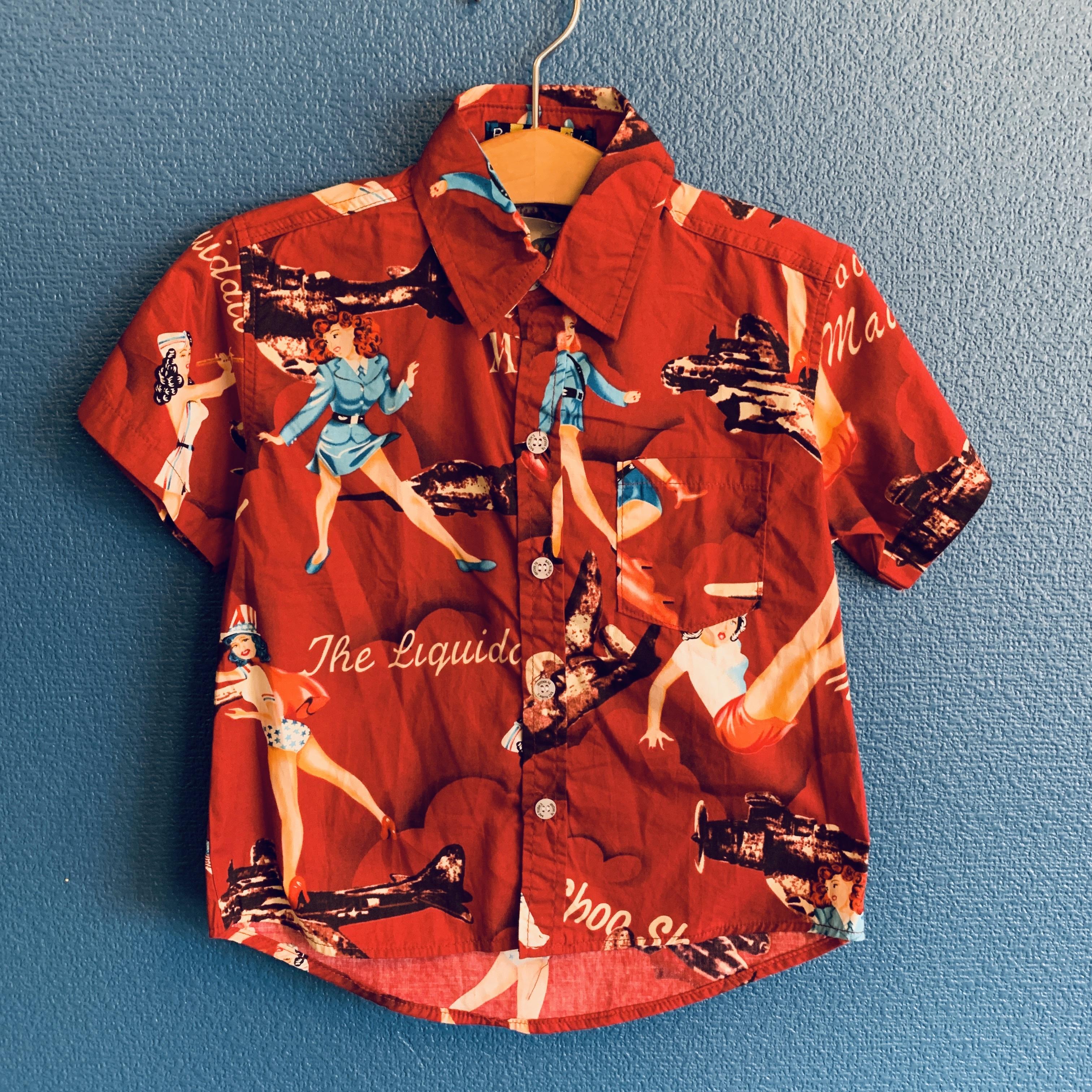 女の子と飛行機柄キッズアロハシャツ