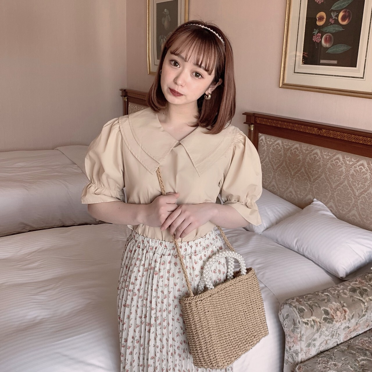 【meltie】latte collar blouse