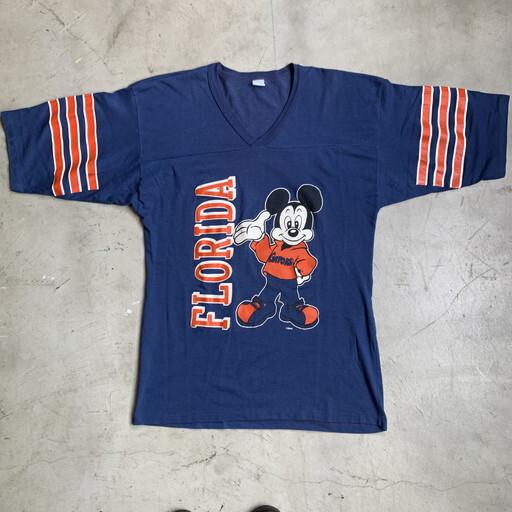 70's 80's FLORIDA GATERS フットボールTシャツ Mickey ミッキー ネイビー オレンジ ビッグサイズ ARTEX? XL 希少 ヴィンテージ BA-1049 RM1418H