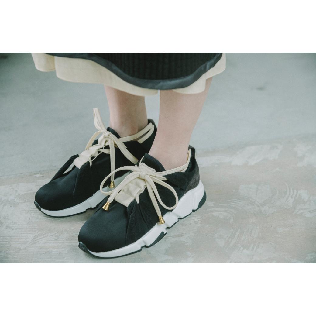 【RehersalL】fake leather ladder sneaker(ivory) /【リハーズオール】フェイクレザー ラダー スニーカー(アイボリー)