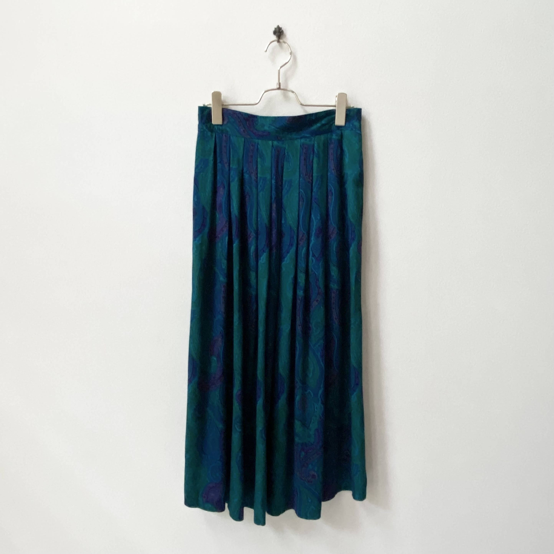 80年代 USA製 ペイズリー柄 タック フレアスカート アメリカ 古着 L