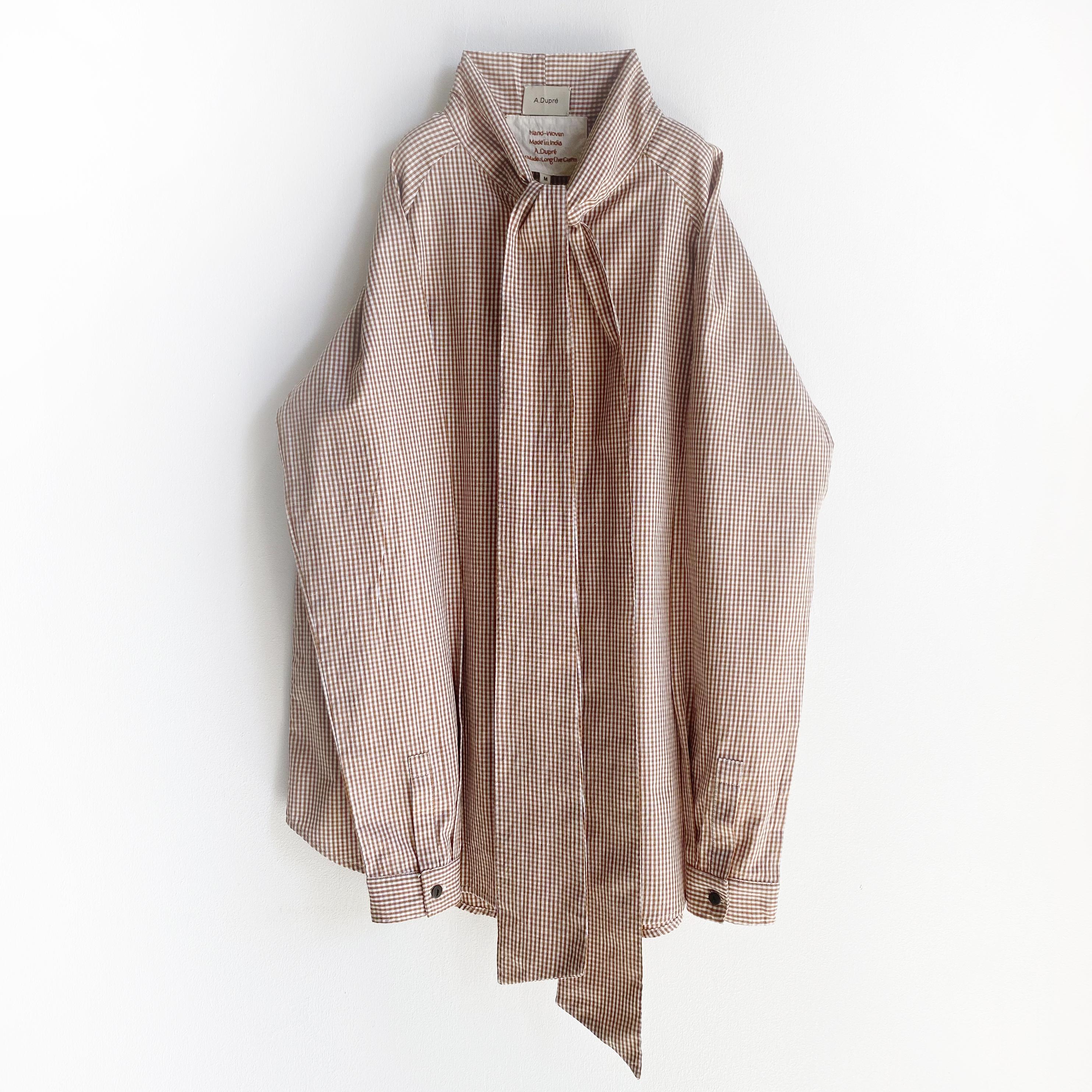 "Raglan sleeve bowtie blouse ""brown gingham check"""