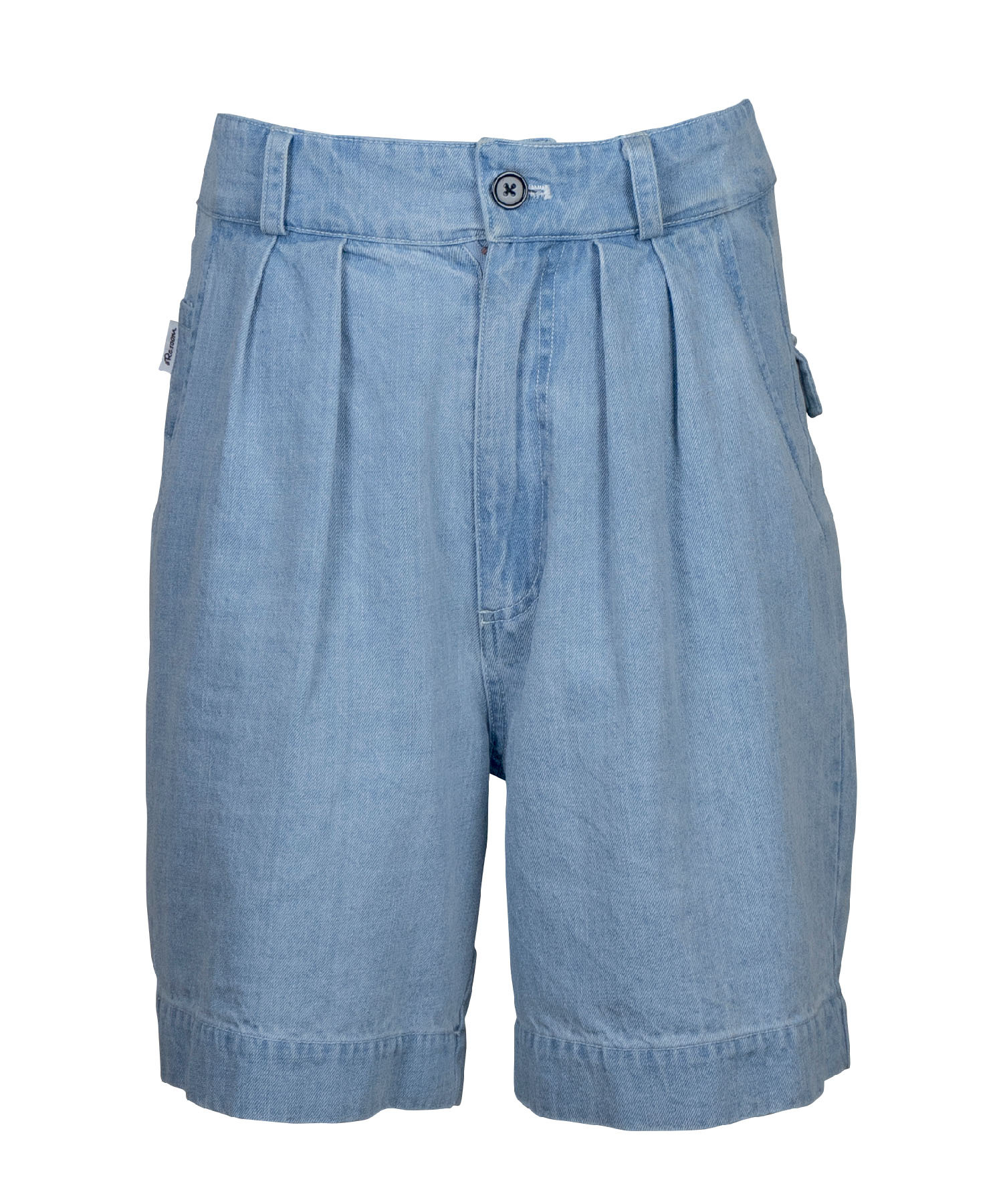 TWO TUCK WIDE DENIM SHORTS[REP134]