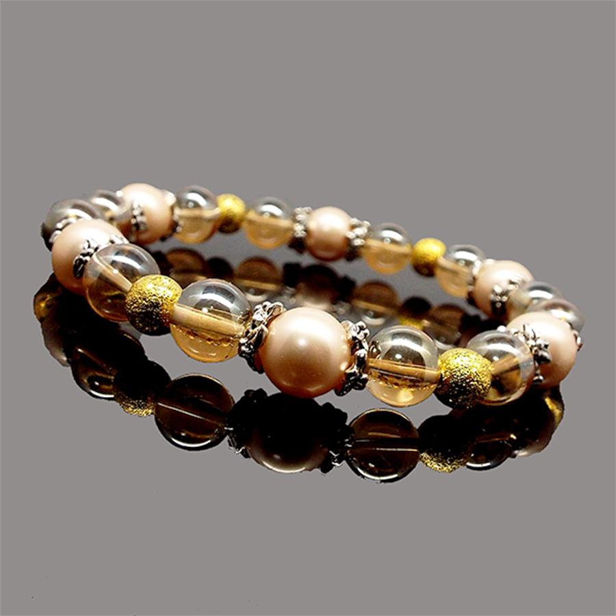 【眩いオーラの輝き】天然石 オーラ水晶&シェルパール ラグジュアリーブレスレット(ゴールデンオーラ&グリーンオーラ)