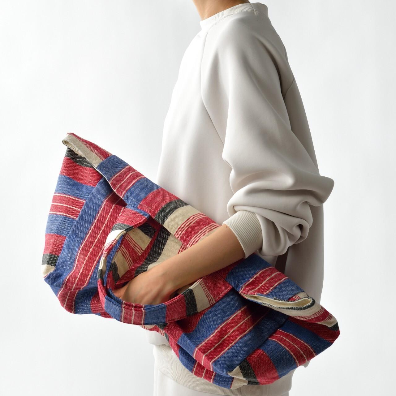 手織りビーチバック 赤×青L(再入荷)
