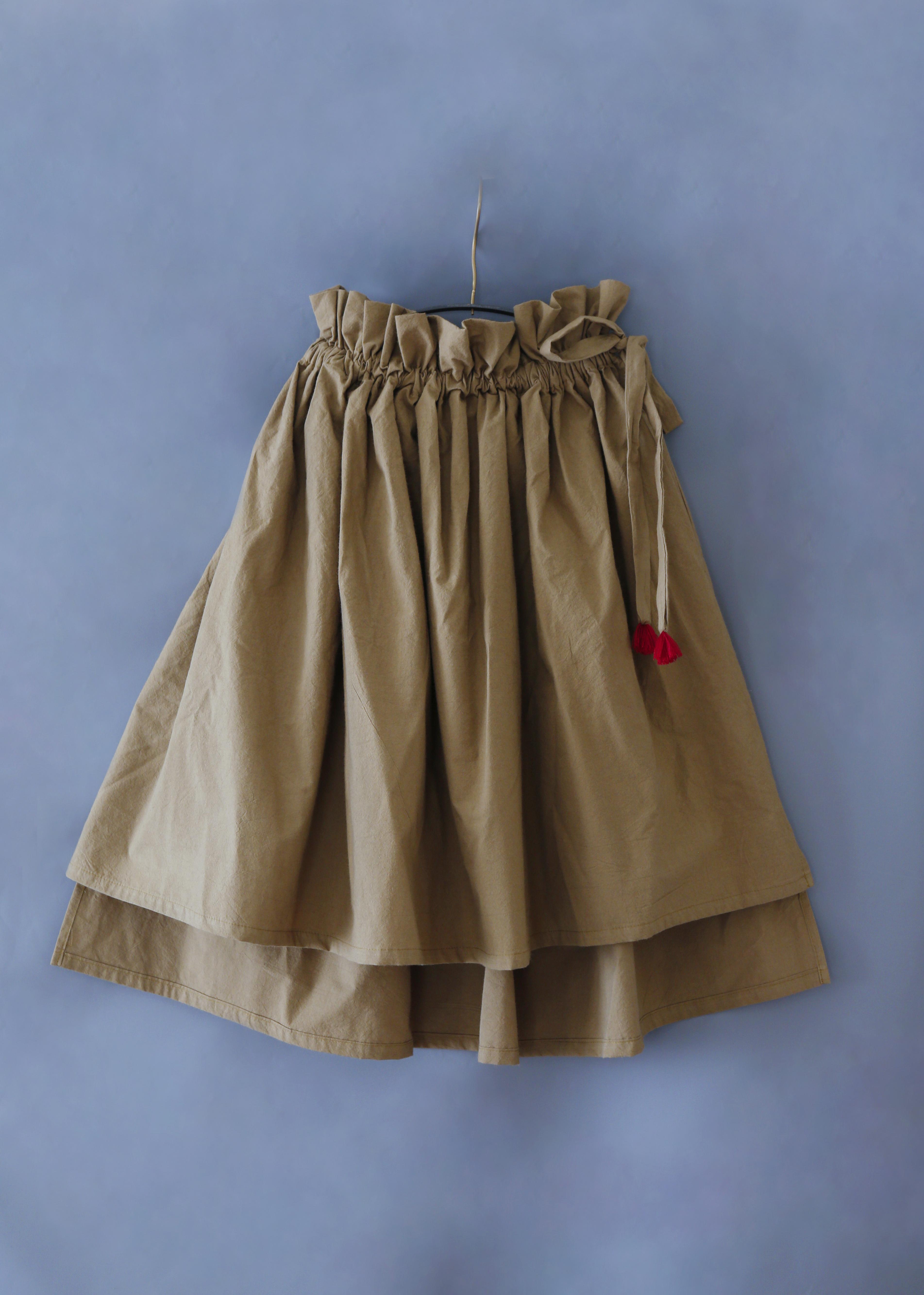 《michirico 2019SS》Asymmetry skirt / darkbeige / S・M