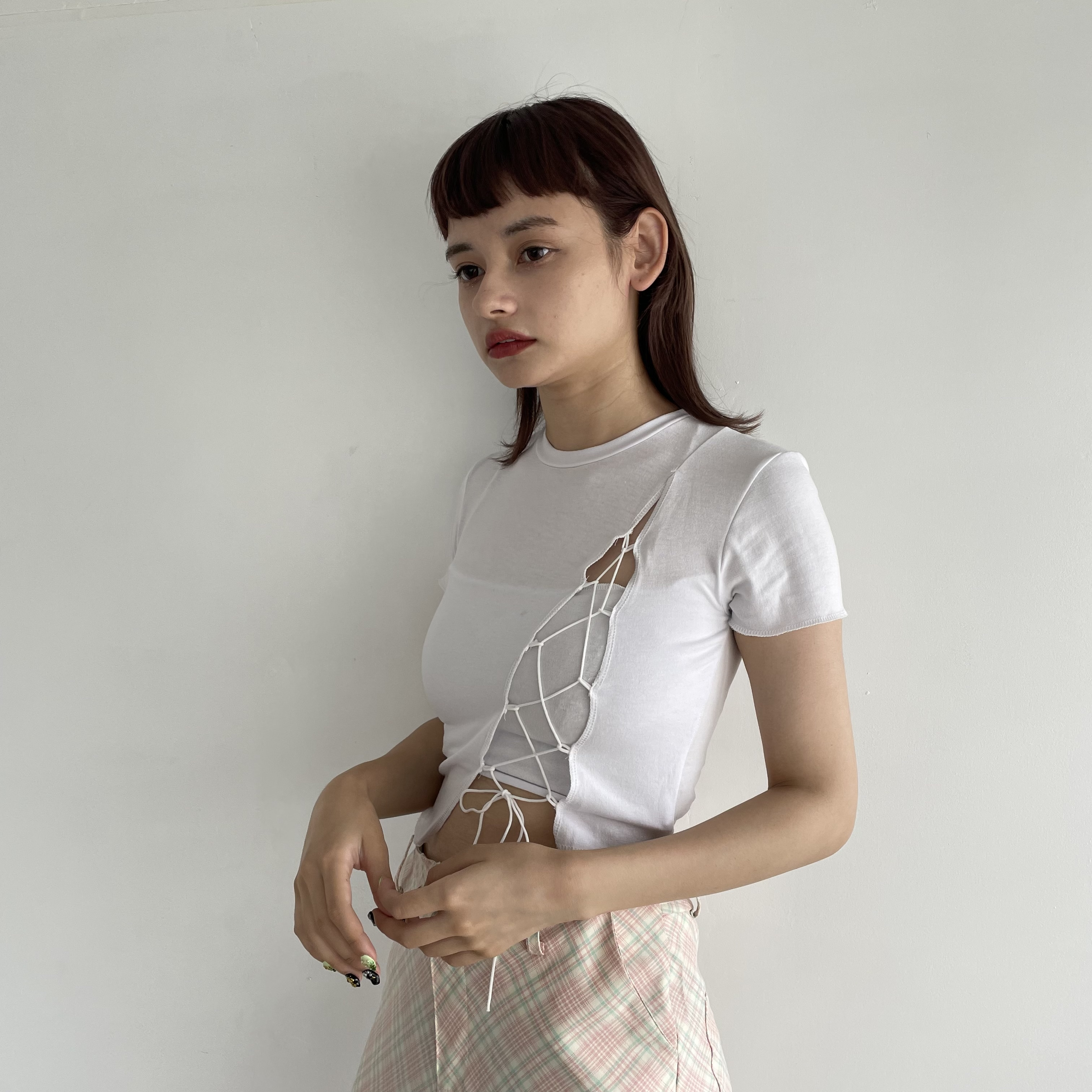 【Belle】lace up tops / white