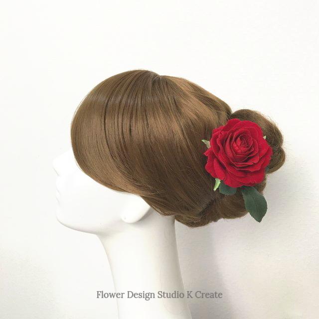 赤い薔薇のヘッドドレス(薔薇&葉) 赤 バラ 髪飾り レッド ローズ フラメンコ レッド