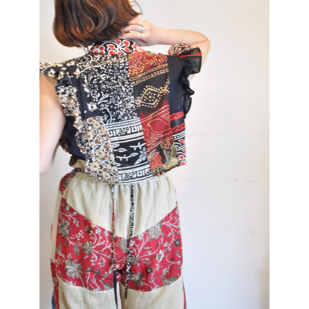 【RehersalL】ethnic frill blouse(dark 3) /【リハーズオール】エスニックフリルブラウス(ダーク3)