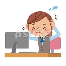 イラスト素材:パソコンの前でイライラする事務職の女性(ベクター・JPG)