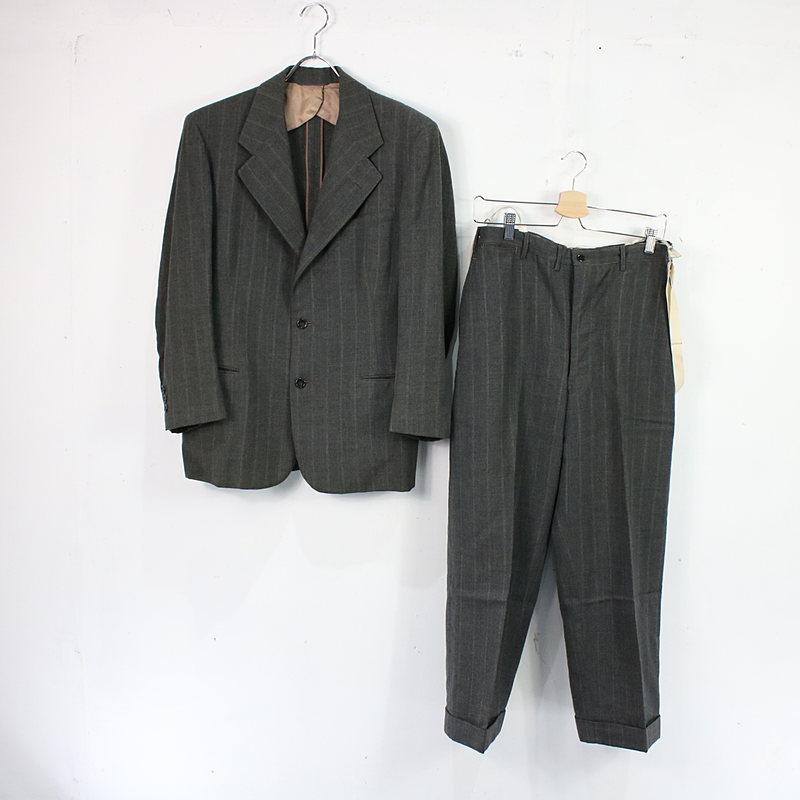 CURLEE CLOTHES | CURLEE CLOTHES │ 50s-60s ストライプ3Bジャケット サスペンダーパンツ セットアップ | グレー系 | メンズ