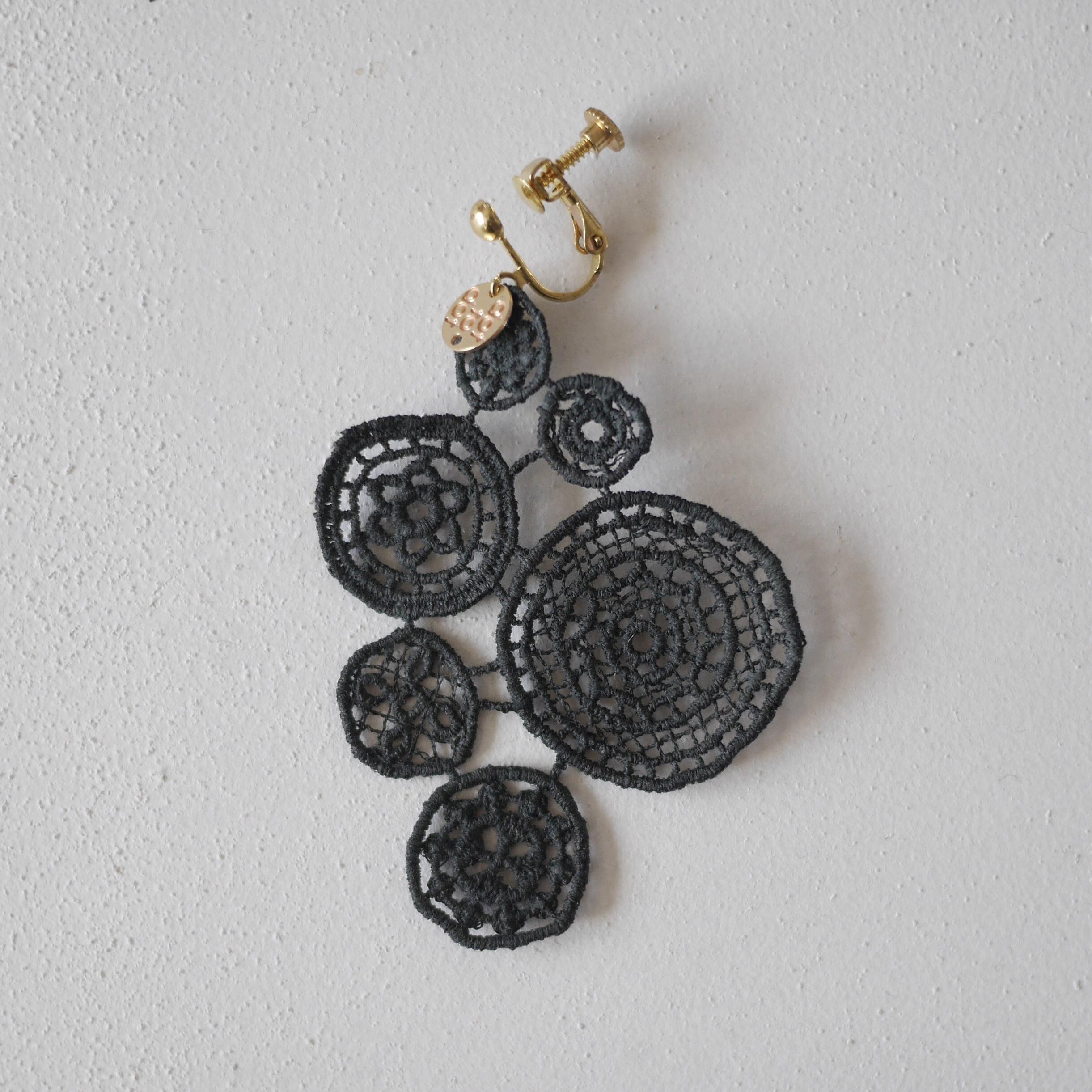 【片耳用】lace earring チャコールグレー