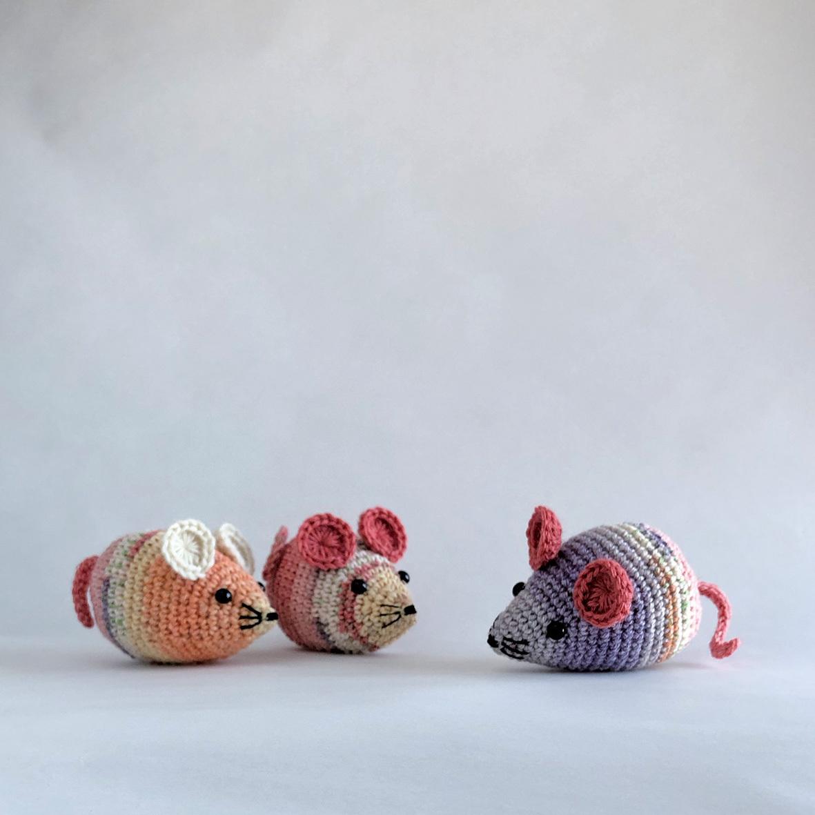 <編み図DL> かぎ針編み・ネズミのあみぐるみ