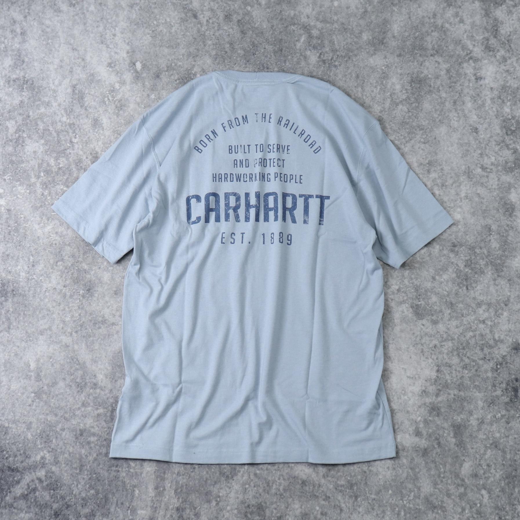"""新品 """" CARHARTT """" カーハート バックプリントTシャツ (LIGHT BLUE) USA規格 新品"""