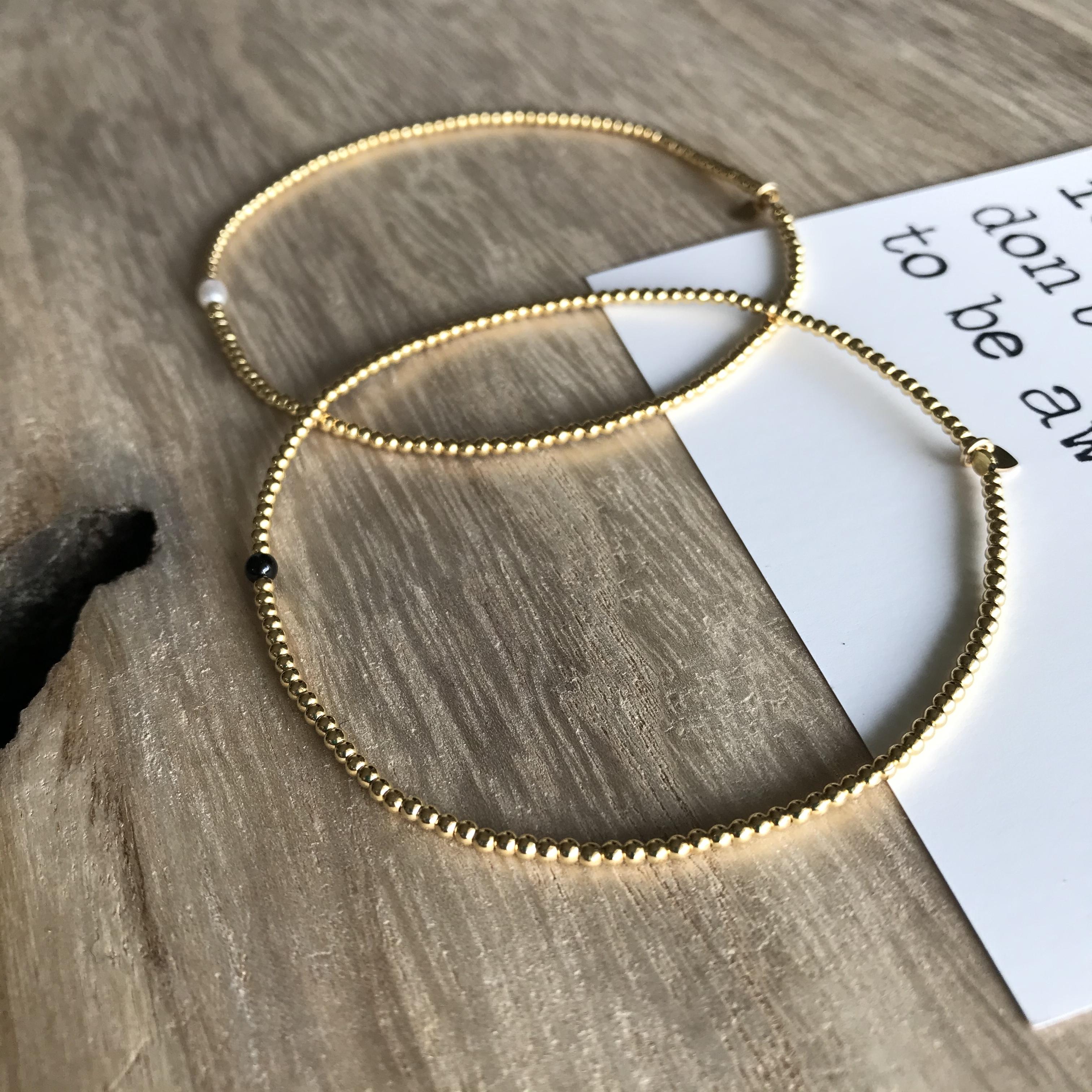 Onyx stone & 14KGF Beads  / ストレッチ ループ アンクレット