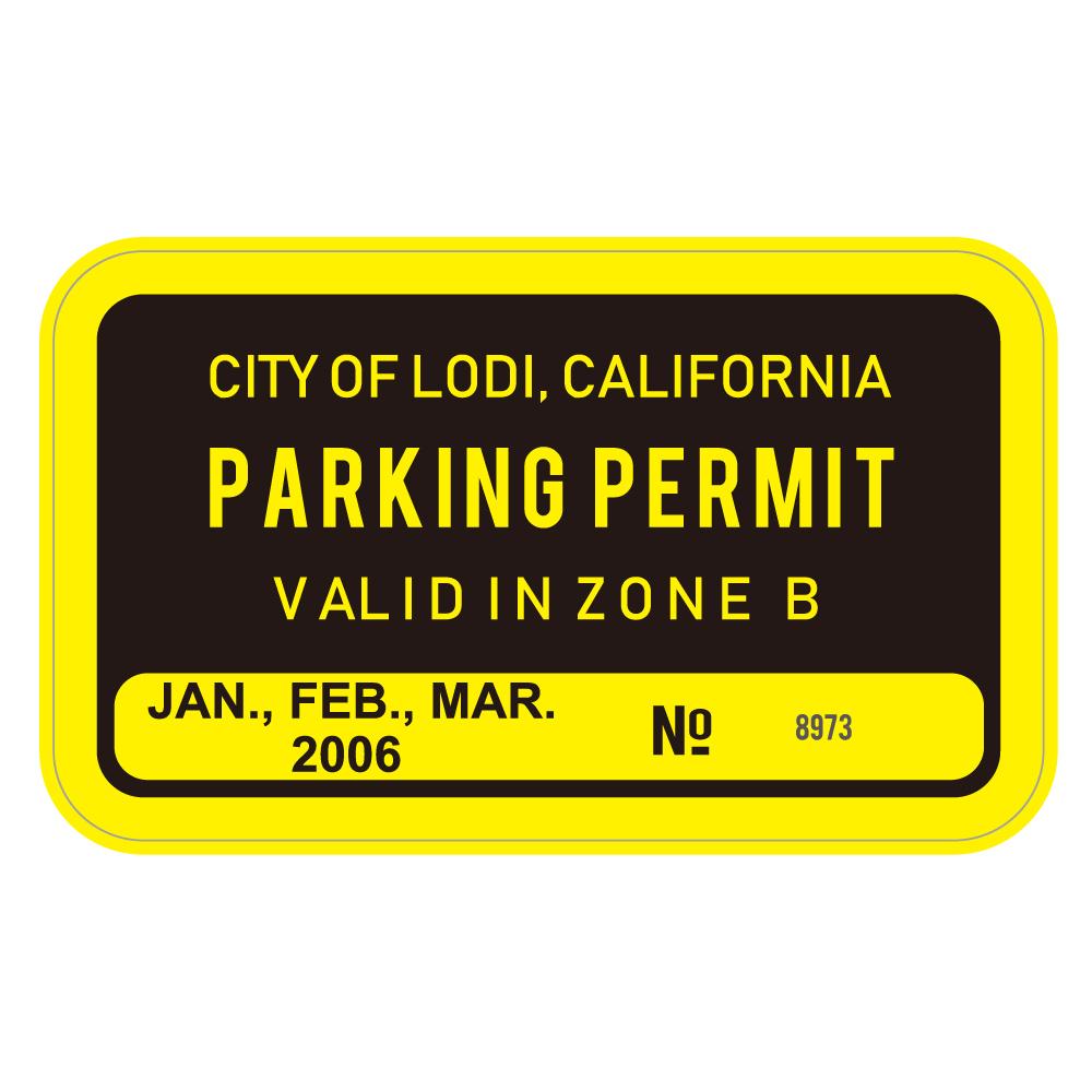 "207 CITY OF LODI, PARKING PERMIT ""California Market Center"" アメリカンステッカー スーツケース シール"