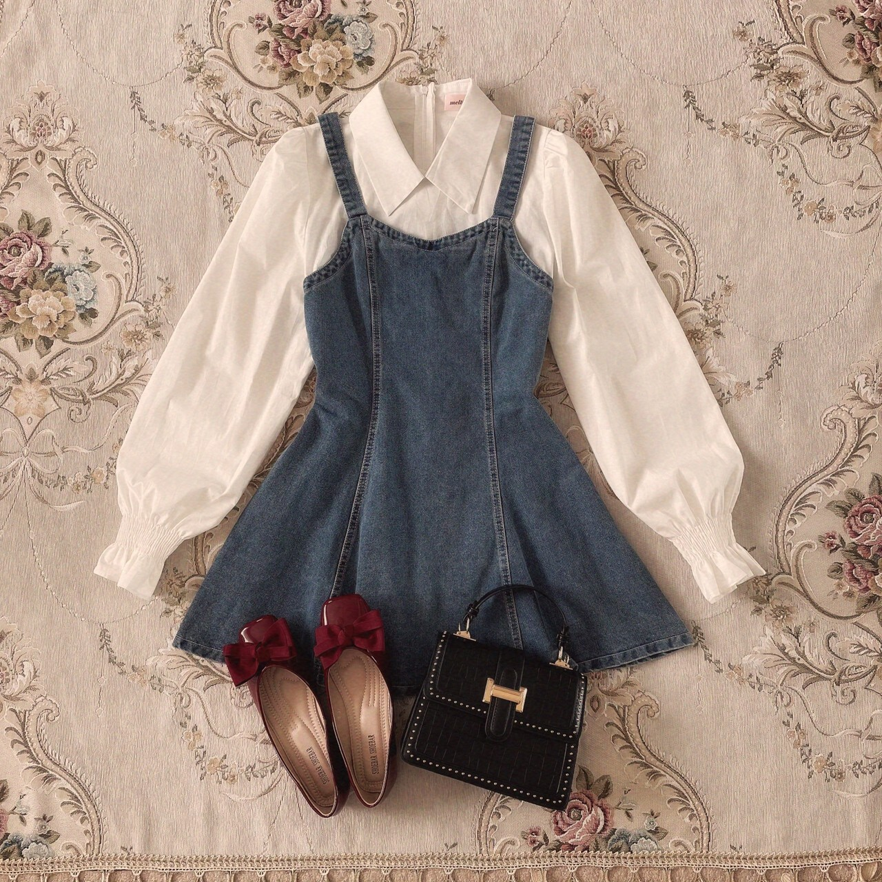 【meltie】girly denim docking onepiece