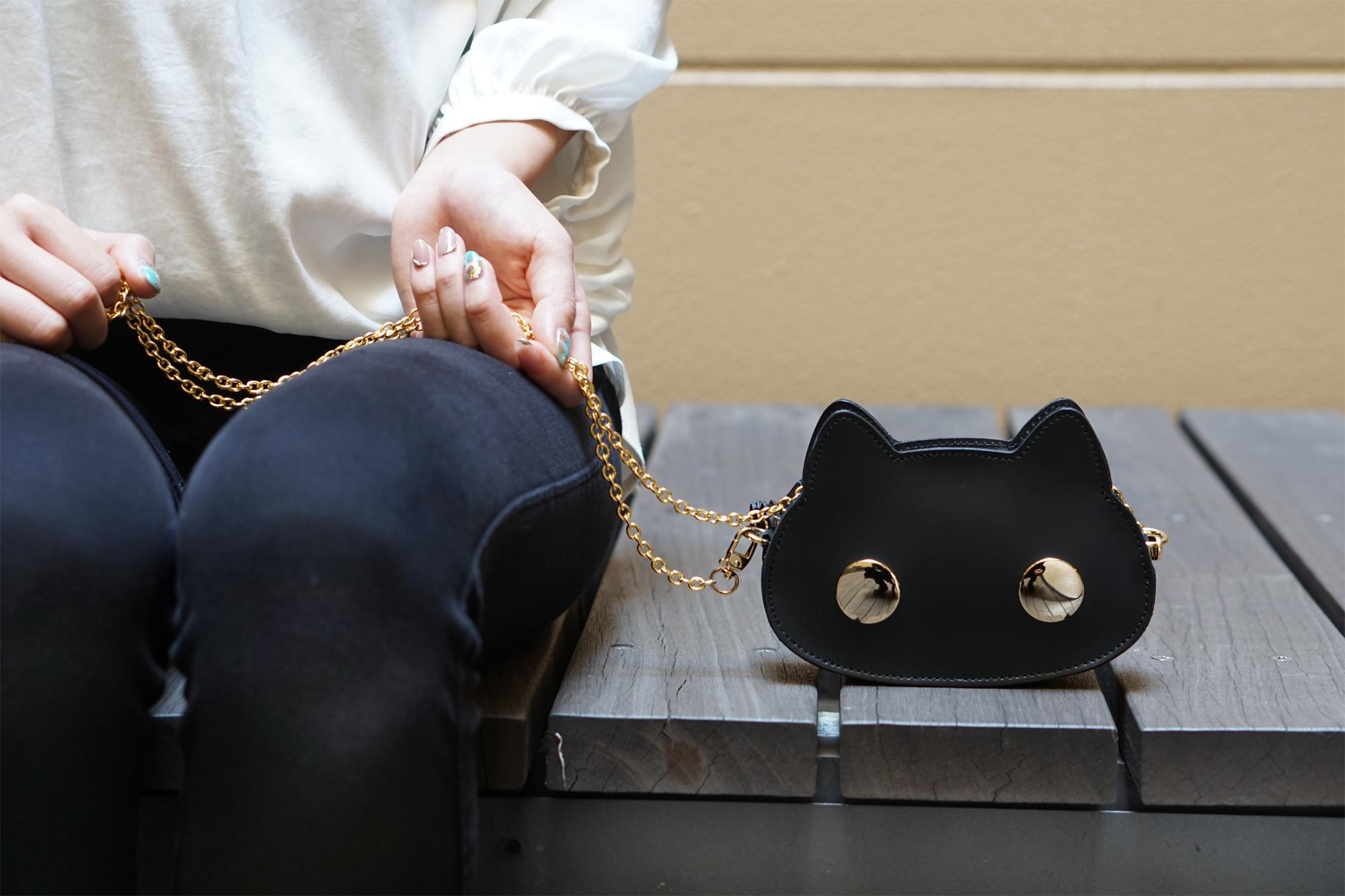 【セール品】猫連合マイクロバッグ 黒猫(牛革製)