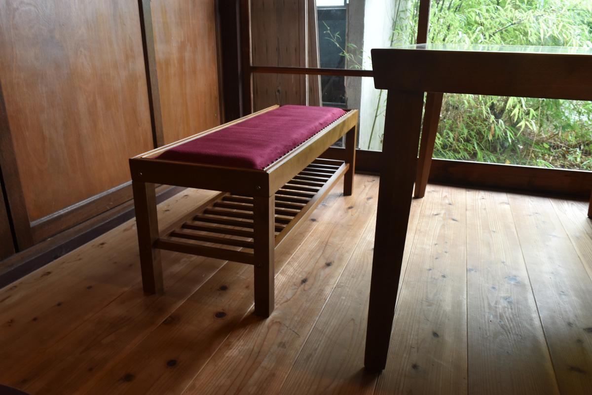 JP Modern Bench Chair RD / 和モダンスタイル 和モダン ベンチチェア レッド