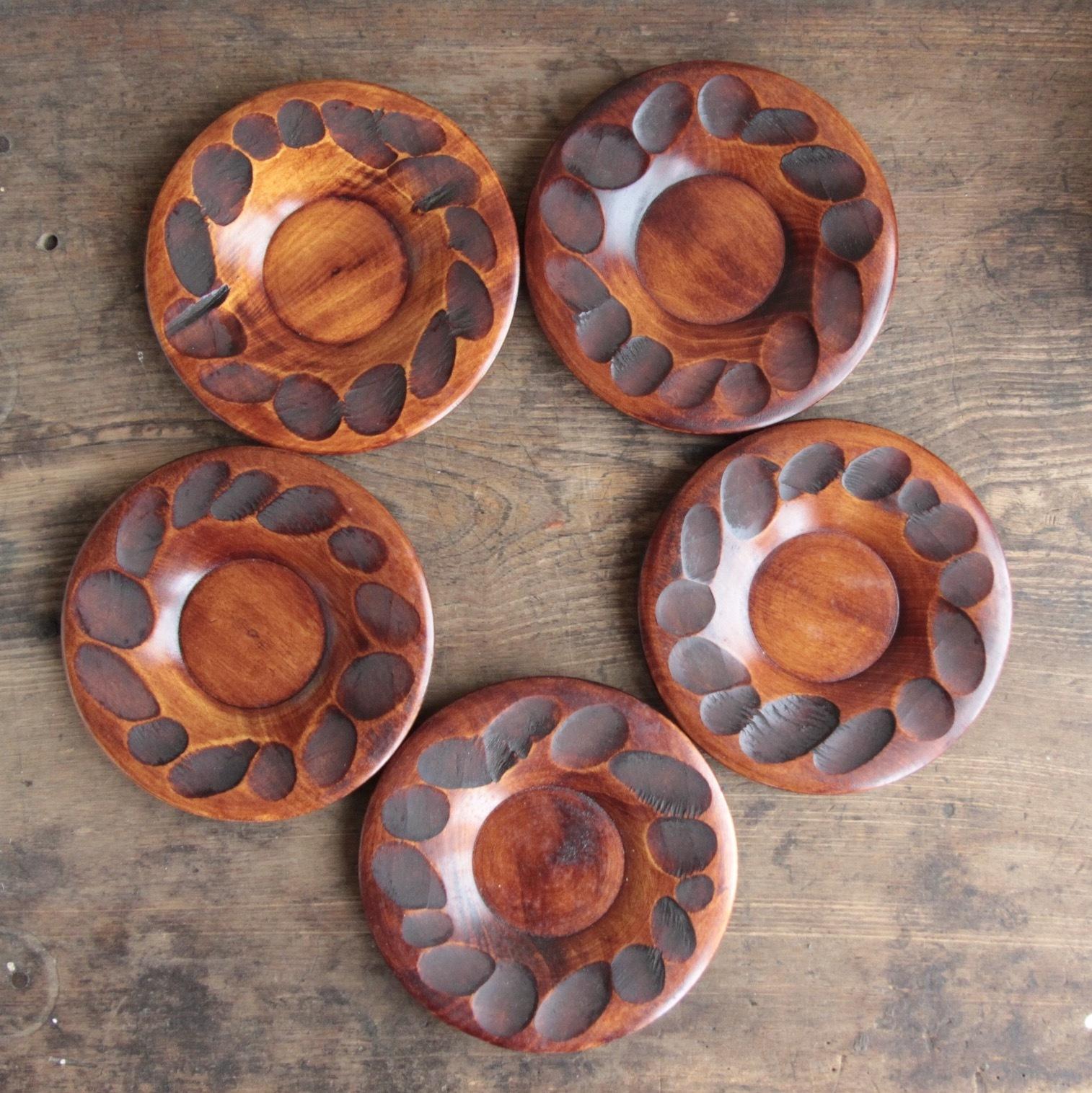 天然木 漆塗 茶托5客セット