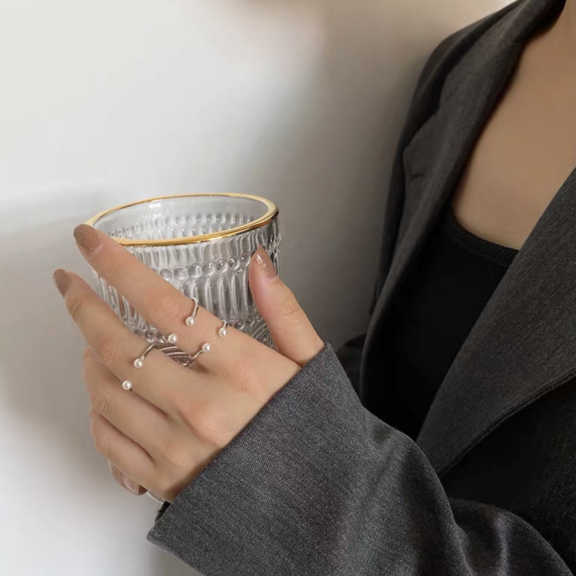 pearl point ring 3pc's set
