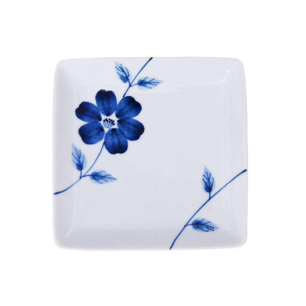 浜陶 波佐見焼 和山窯 flowers 角取皿 ラインフラワー 326929