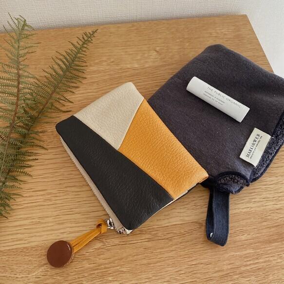 【空気の色 二つ折り財布 / ネイビー】コンパクトで軽量 小さいバッグに