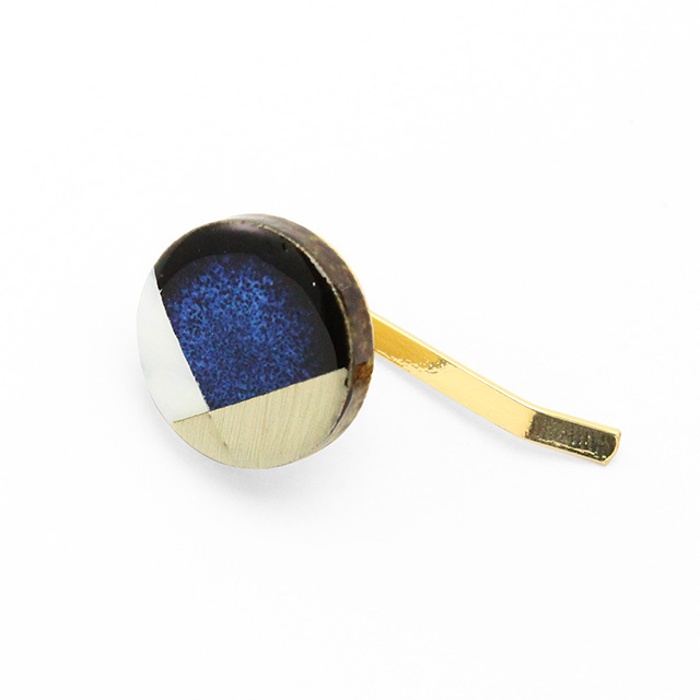 藍色 丸 陶器 モダンスタイル ヘアカフス ポニーフック 美濃焼