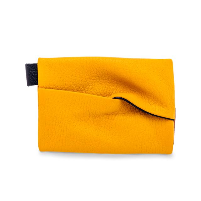 【袋果ティッシュケース / イエロー × ネイビー】取り出しやすく散らばらない!ポケットティッシュ用