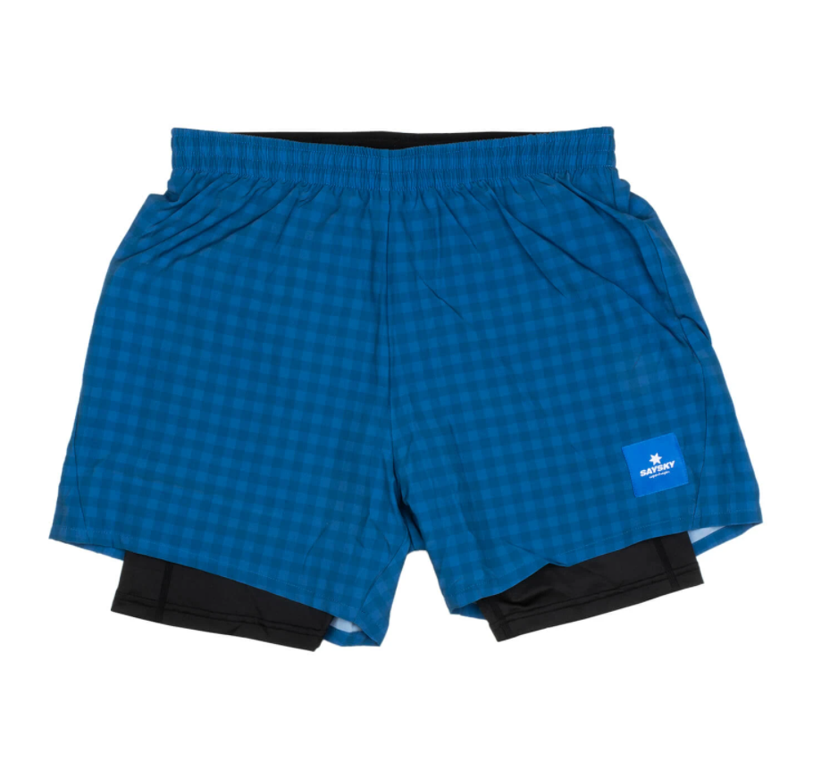 【30%OFF】SAYSKY セイスカイ ランニングショーツ Checker 2 In 1 Shorts - BLUE CHECKERBOARD [ユニセックス] FMRSH01
