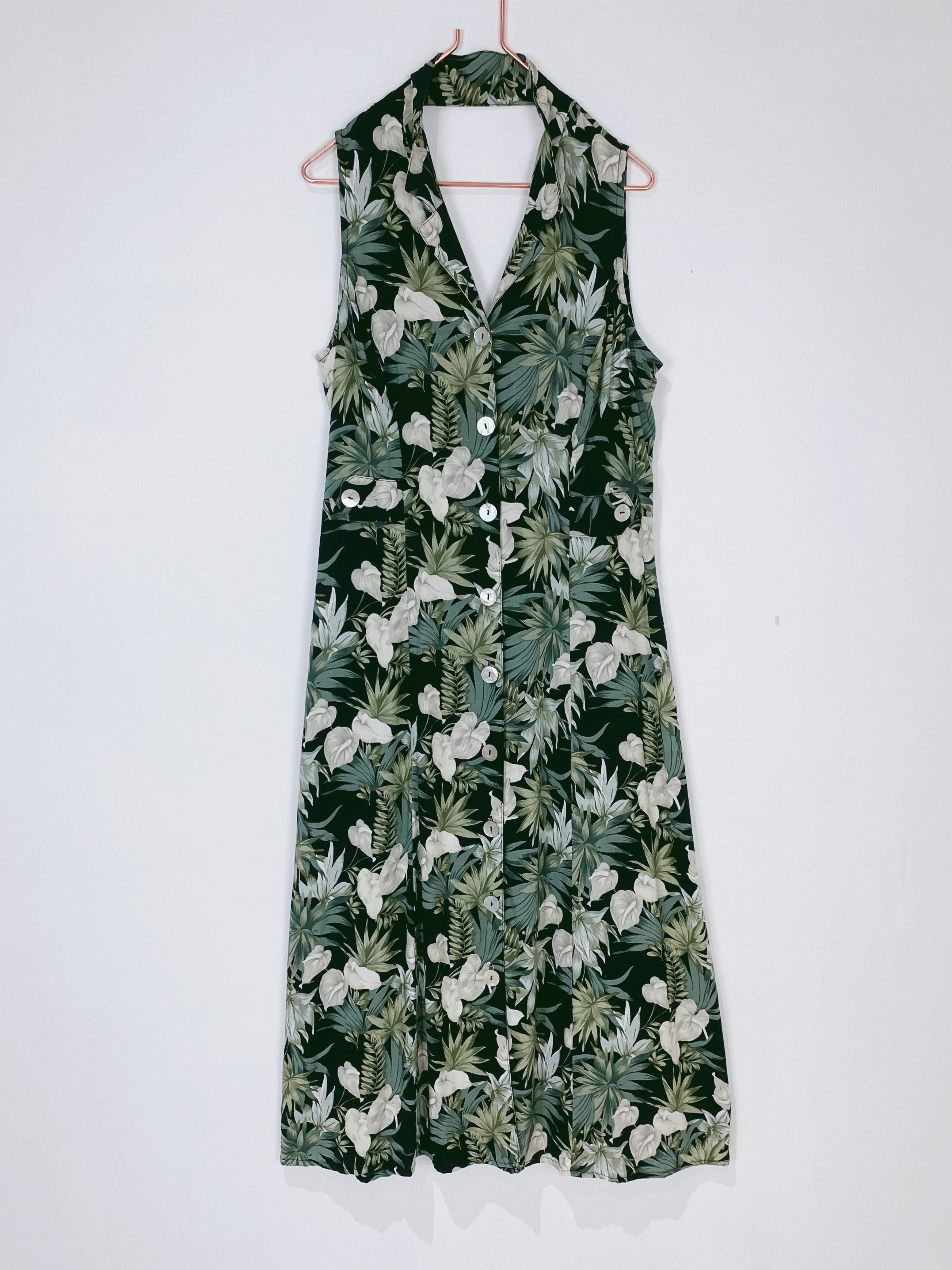 ◼︎90s botanical flower shell button maxi dress from U.S.A◼︎
