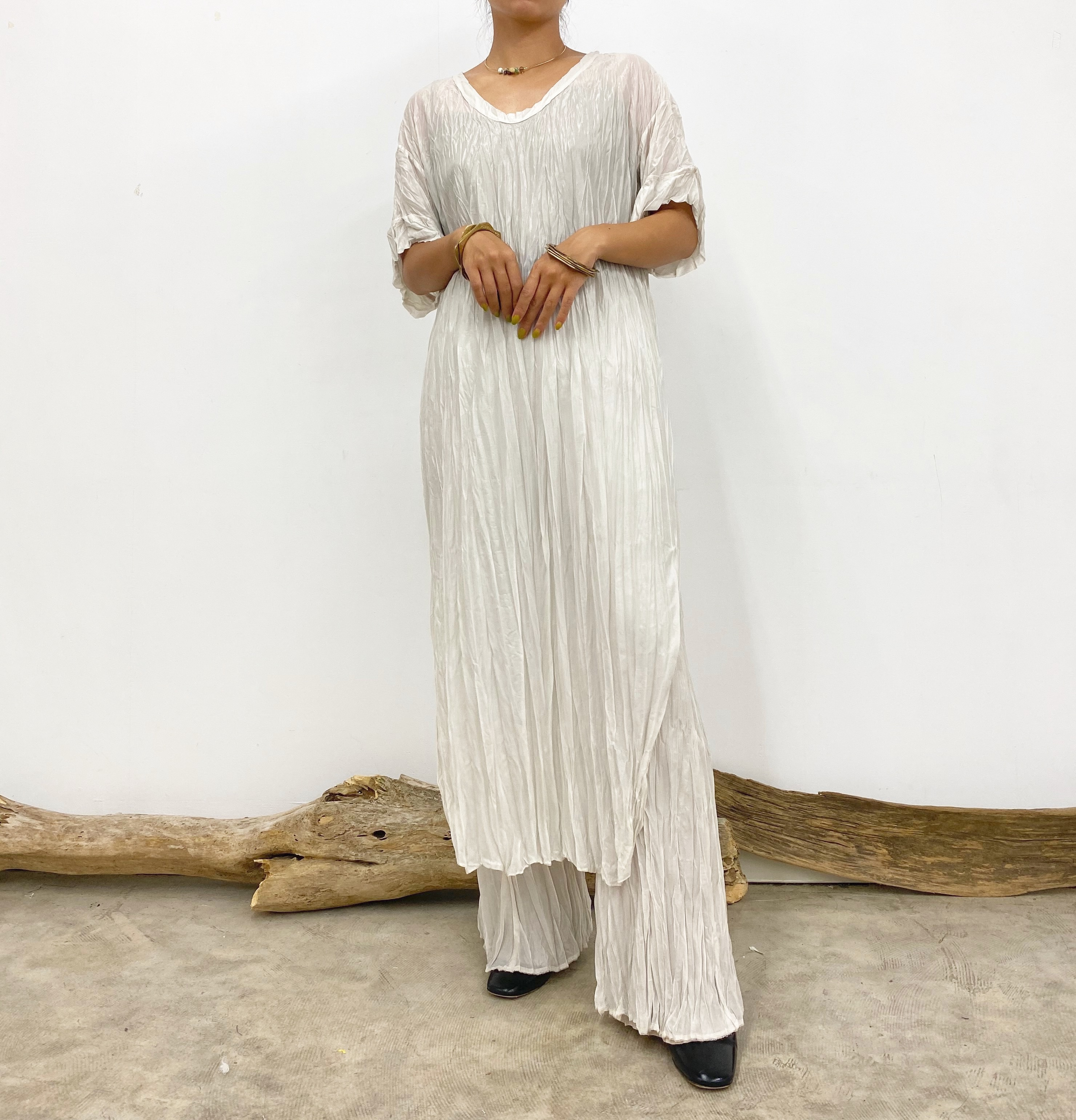 CRINKLE-FIN FLAIR TROUSERS【WHT】