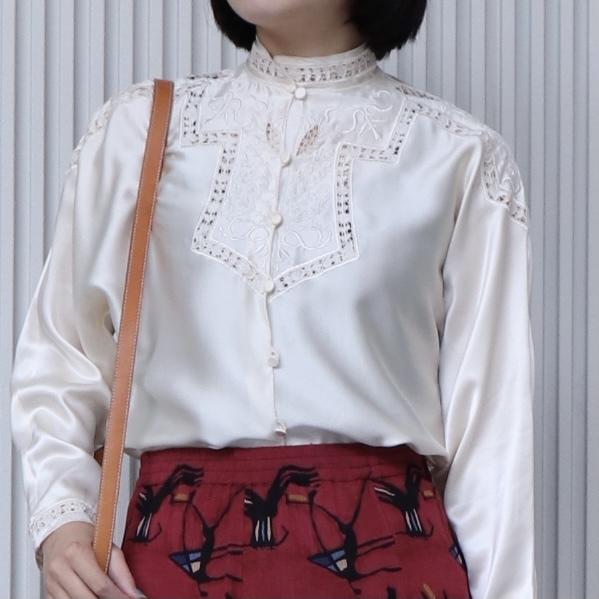 クラシカル 刺繍レース スタンドカラーブラウス アメリカ 古着 日本M