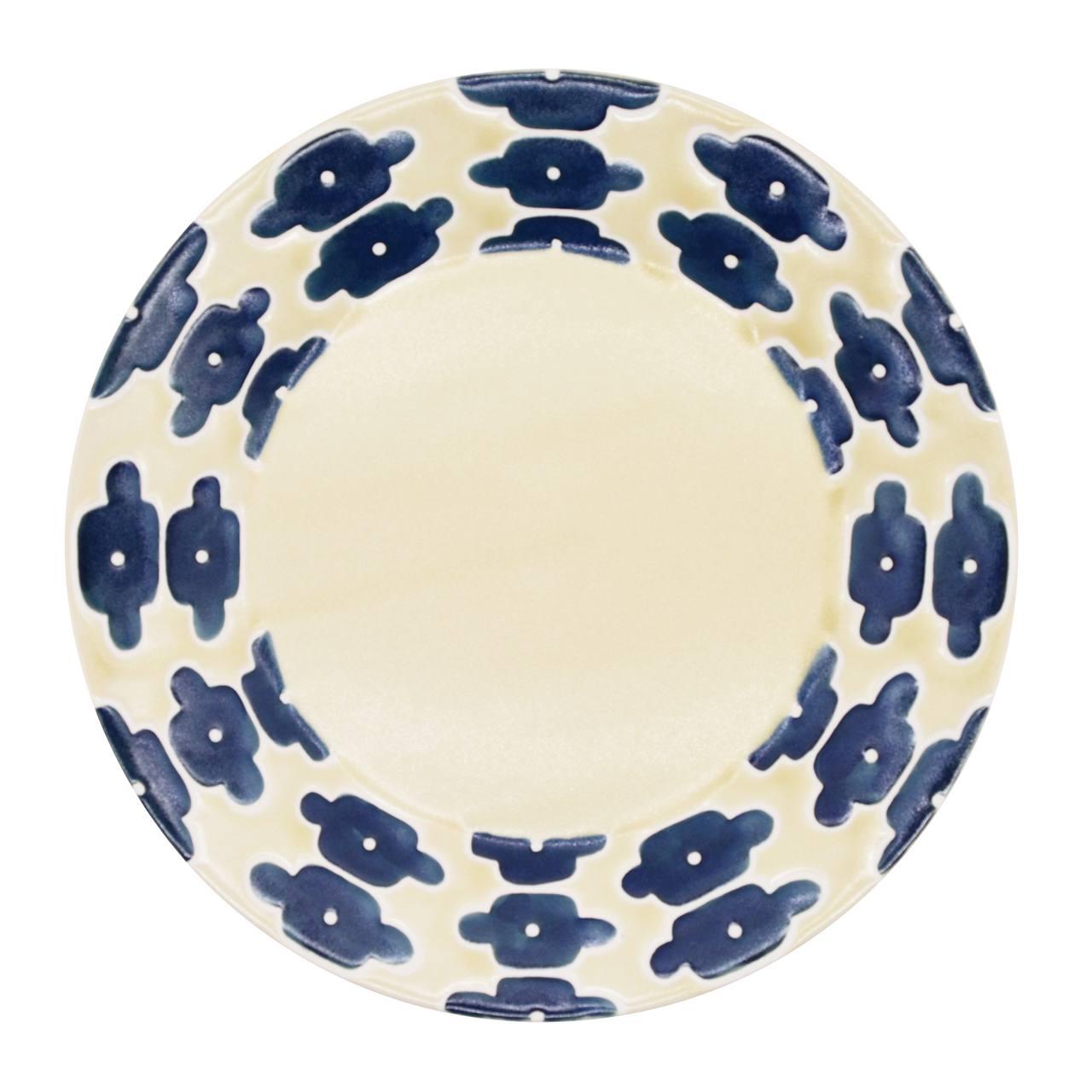 砥部焼 すこし屋 プレート 皿 約27cm インディゴフラワー 229005