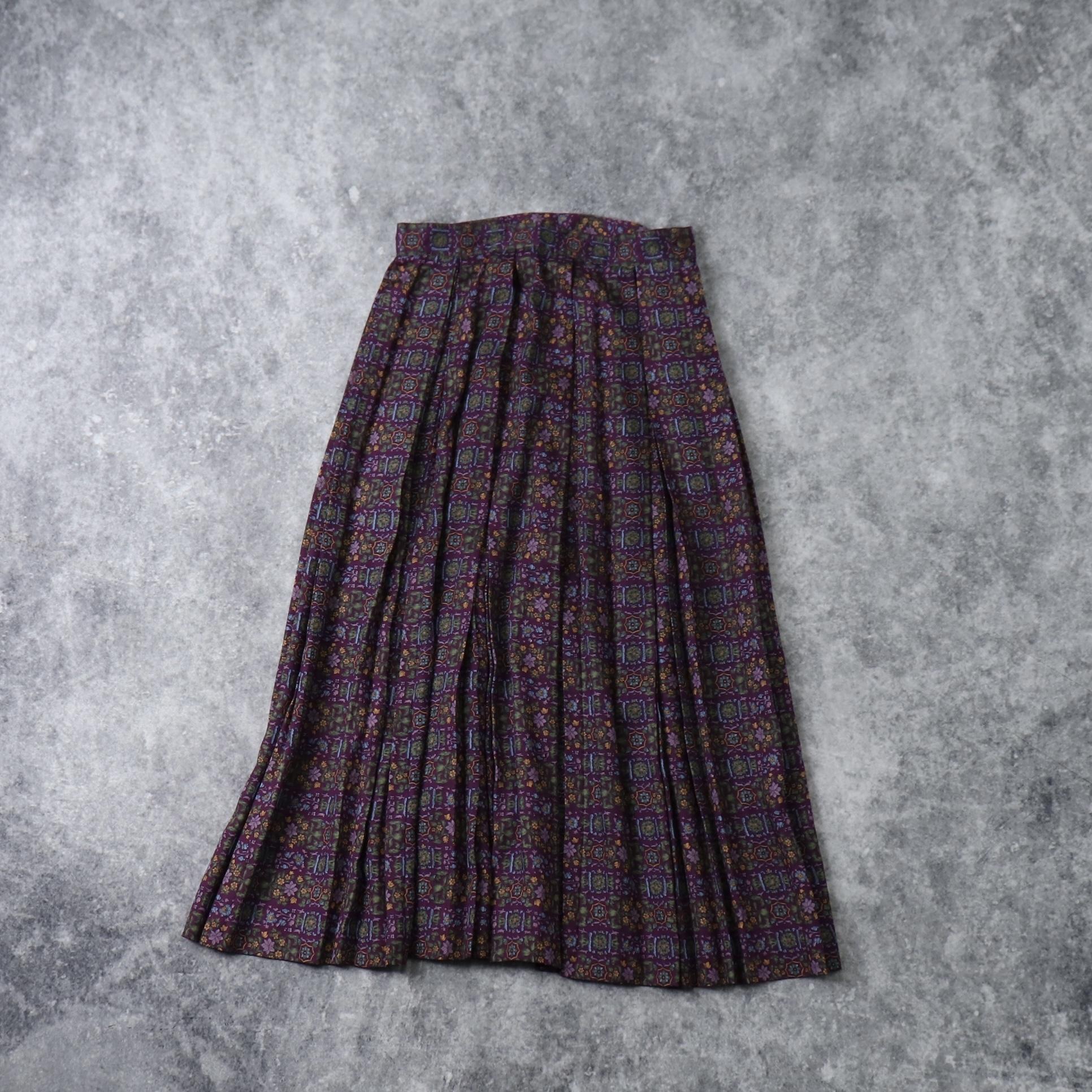 レディース 90年代 フラワー柄 プリーツスカート アメリカ古着 レッドパープル M