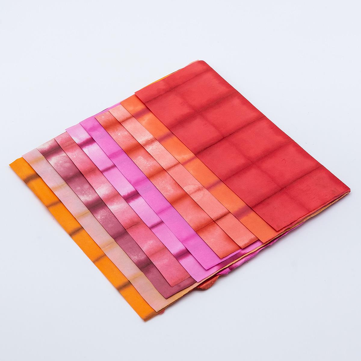 阿波 板締め紙 八ツ切り10色セット(赤・オレンジ系)
