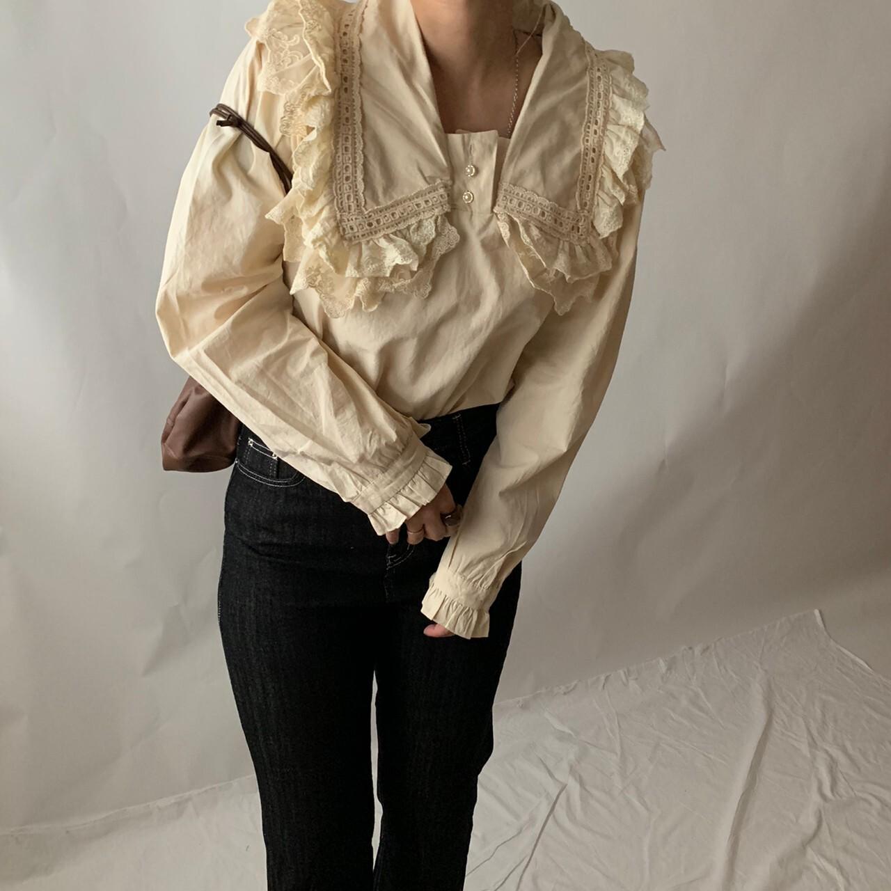 【asyu】vintage frill blouse