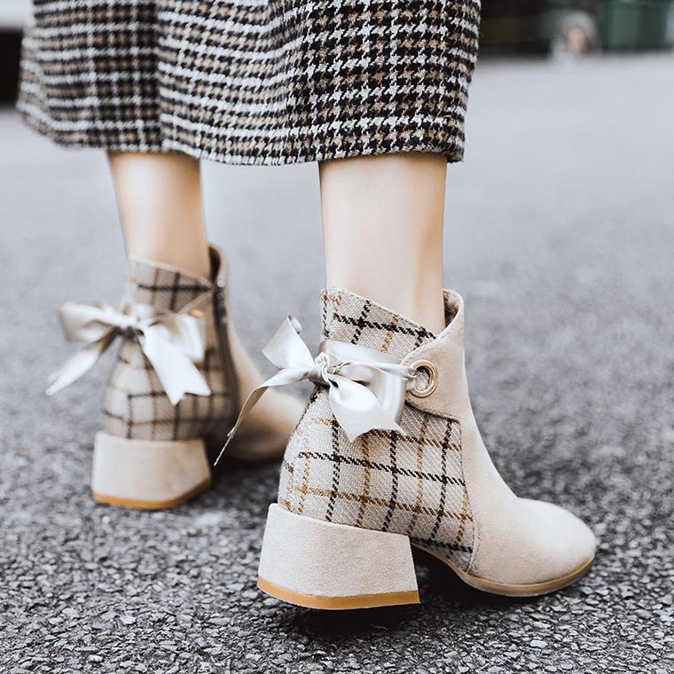 back ribbon short boots 2color