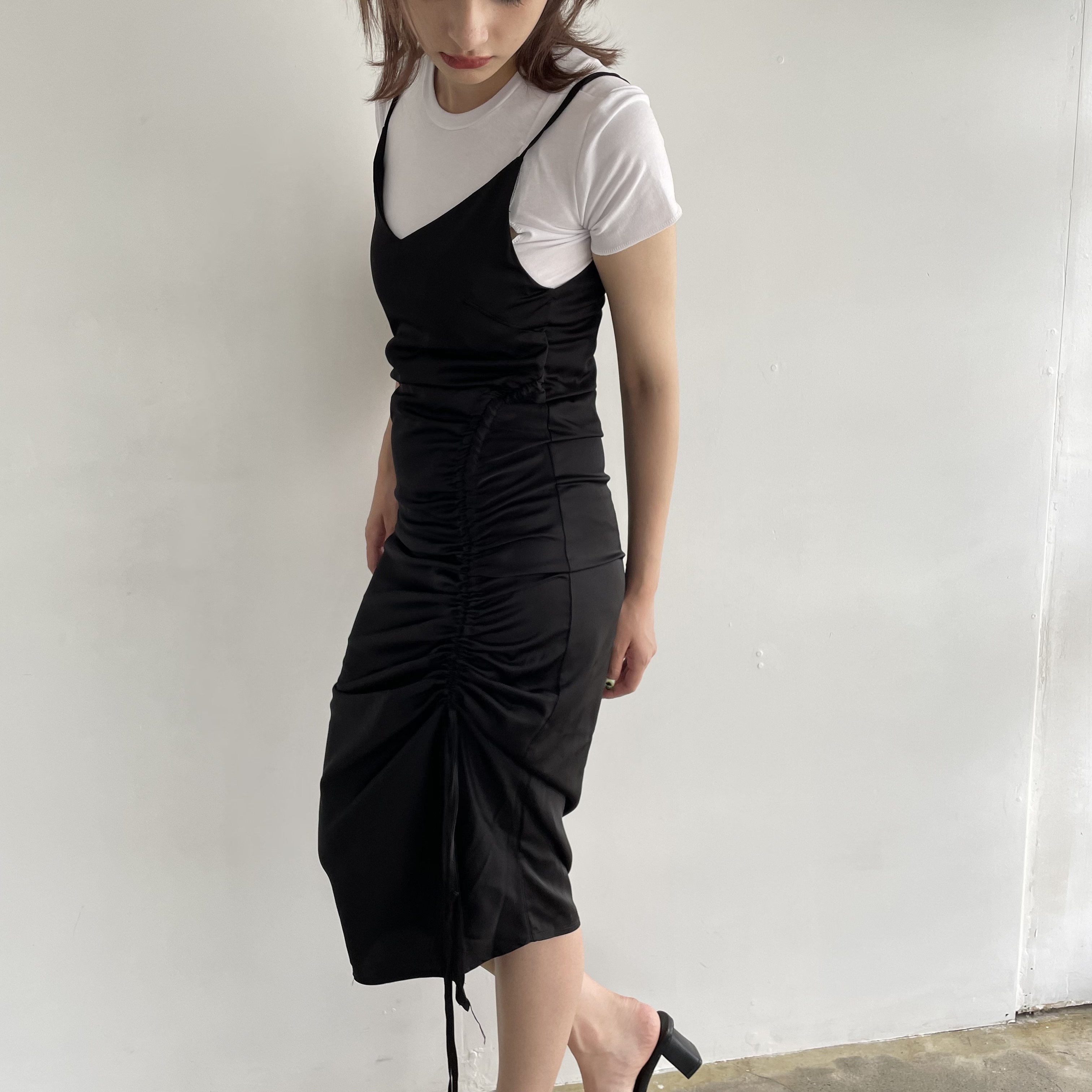 【Belle】shirring long camisole onepiece / black