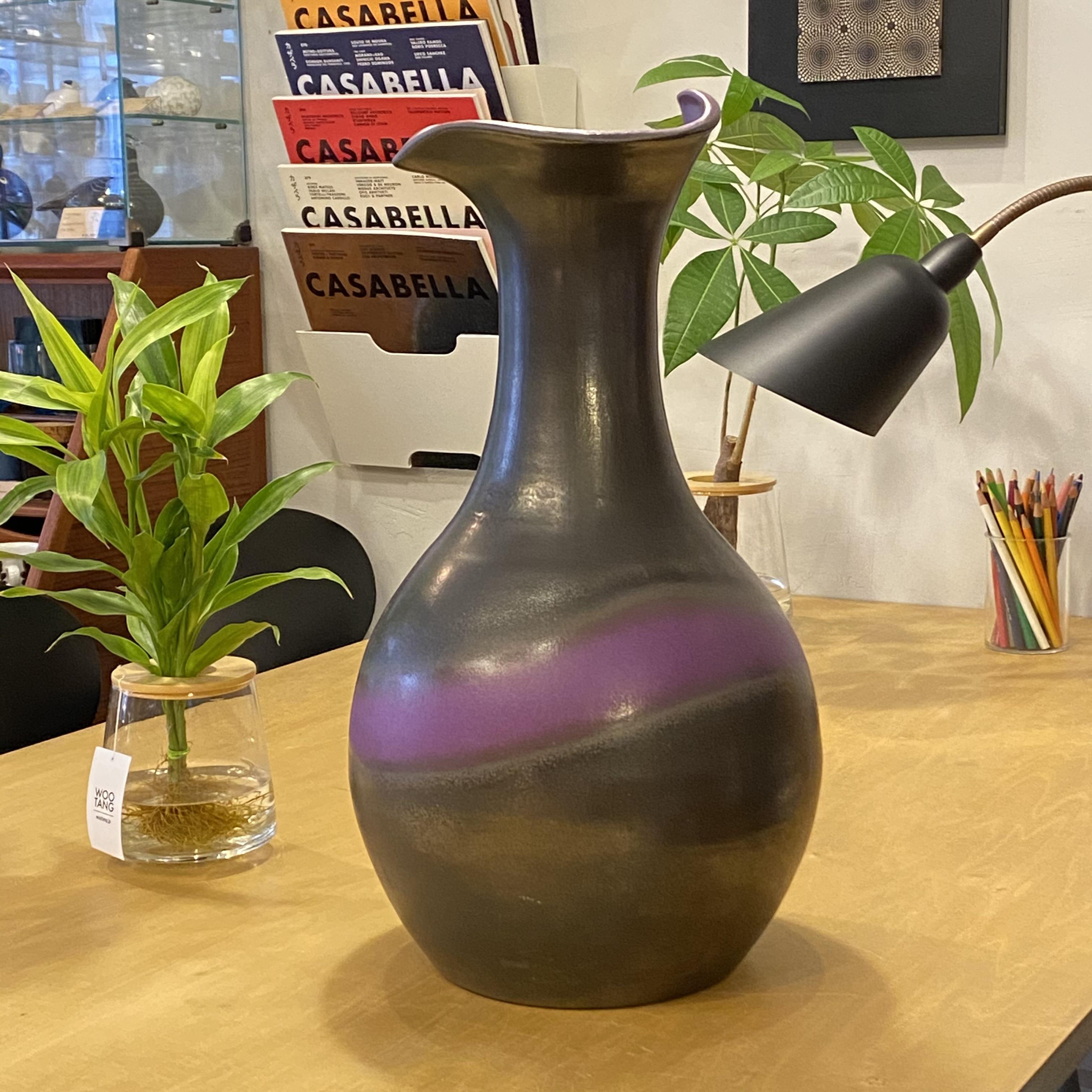 "W・Germany ""Carstens Atelier Kiel"" vintage fat lava vase Φ270×H470mm"