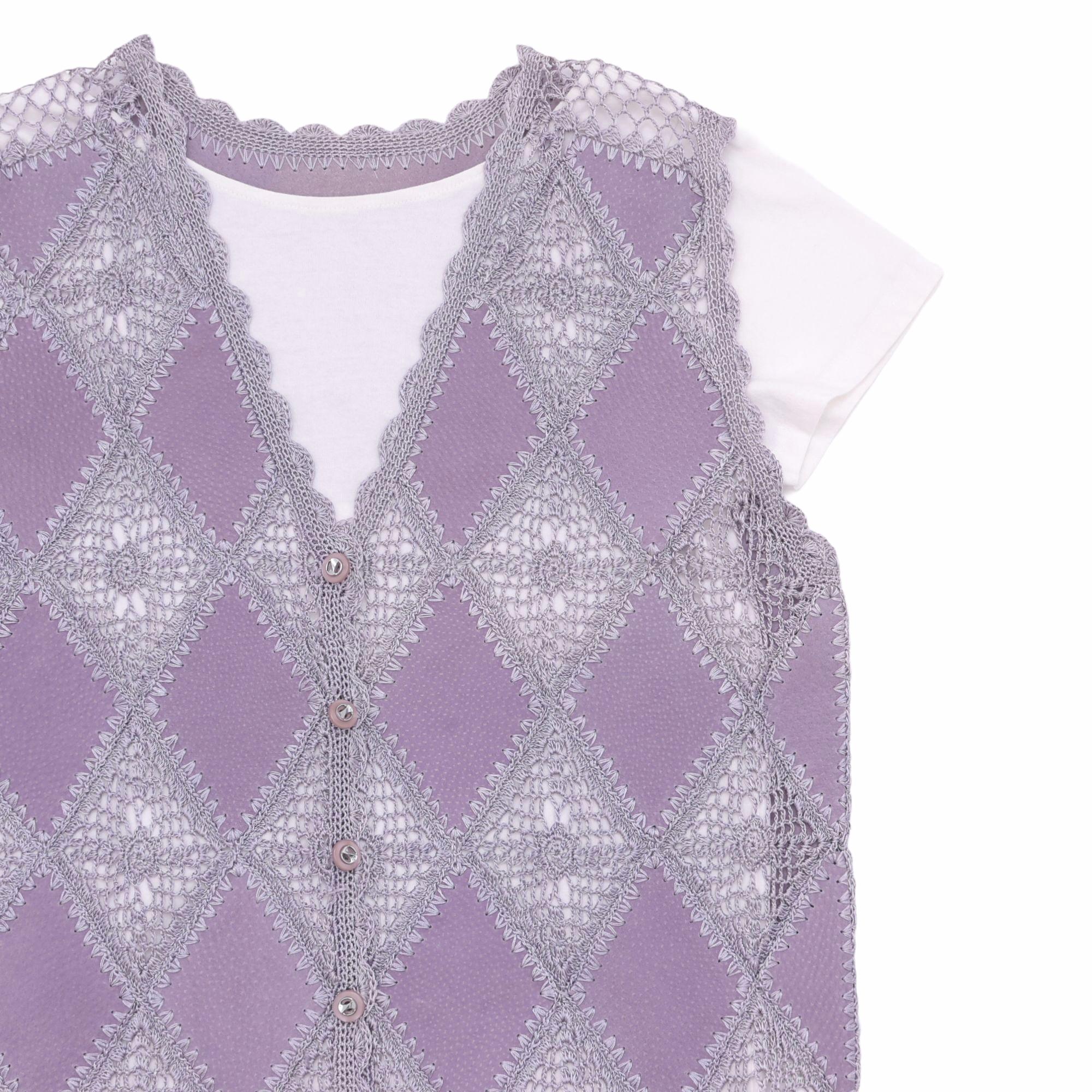 Suede & Crochet patchwork cardigan vest